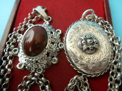 JOB LOT SOLID SILVER VINTAGE LARGE LOCKETS & CHAINS NOT SCRAP 43.8gm