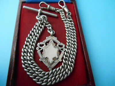 ANTIQUE SOLID SILVER DOUBLE ALBERT POCKET WATCH CHAIN & FOB NOT SCRAP 43.9gm
