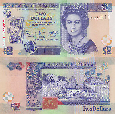 Belize 2 Dollars (01.11.2014) - QEII/Animals/Ruins/66e UNC
