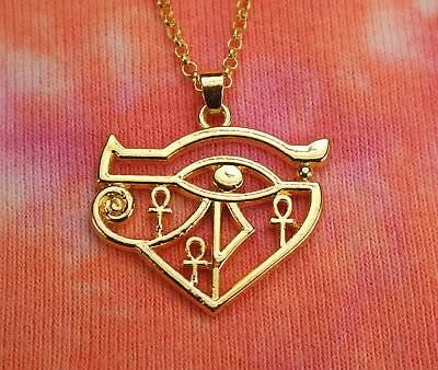 Eye of Ra w/ Ankh Necklace Egypt Egyptian Wadjet Udjat Hathor Horus Gold Pendant