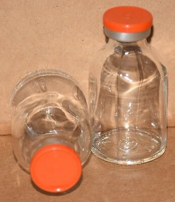 30 mL Clear Sterile Vial with Orange Plain Flip Cap Seal Qty. 1