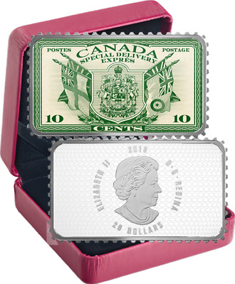 2019 Coat Arms Flags Special Delivery $20 1OZ Silver Proof Coin Canada 10c Stamp