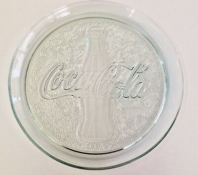"Coca Cola Coke Bottle Round Clear Green Glass 13"" Serving Tray Platter Plate"