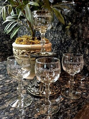 Vintage CHRISTIAN BROTHERS Napa Valley Stemmed Wine Tasting Glasses (4) MINT!