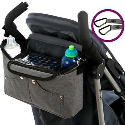 Grey Buggy Organiser Storage Bag for Buggies, Pram Clips, High Vis Stickers. BTR