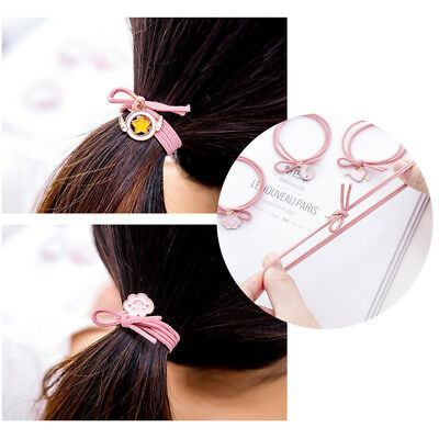 Pink Girl Hair Ring Elastic Rope Tie Wing Star Dangle Ponytail Holder Hairband