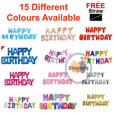 """16""""inch SELF-INFLATING HAPPY BIRTHDAY BALLOON BANNER BUNTING PARTY LARGE BALOONS"""
