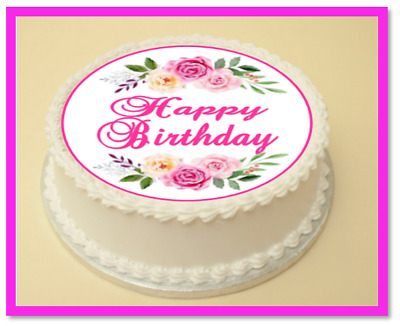Flower Happy Birthday Edible Cake Cupcake Topper Decoration Wafer Paper Icing
