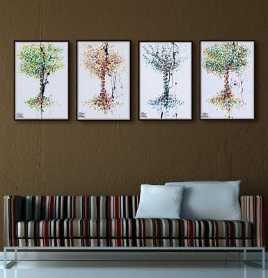 "4 season trees set - 30"" x 20"" painting - Spring, Summer, autumn and winter"