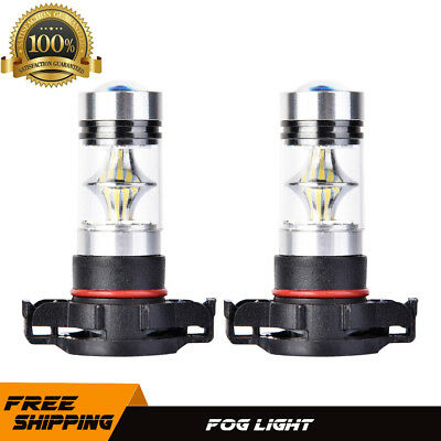 Pair H16 5202 100W LED Fog Light 6000K White super bright 9V-12V Foglight 2504