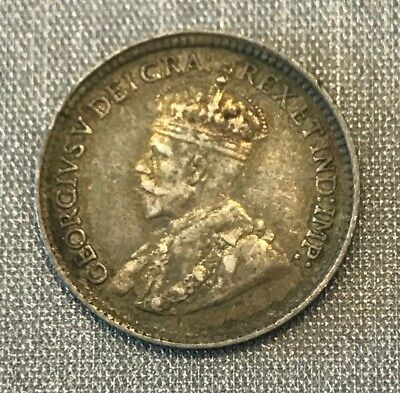 Canada 1919 Silver 5 Cents Very Nice Toned Au/unc King George V