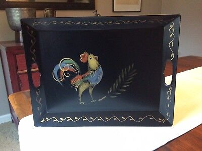 Vintage Signed Tole Hand Painted Recticulated Sides Handle Metal Serving Tray