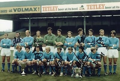 10 Signed Manchester City Photo Inc Colin Bell, Mike Summerbee, Neil Young AFTAL