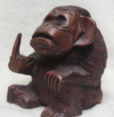 Quality Hand Carved Wood Monkey Giving The Finger Wood Carving Rude Monkey 100Mm