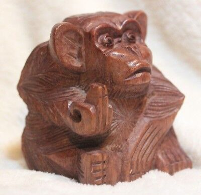 Quality Hand Carved Wood Monkey Giving The Finger Rude Monkey 100Mm Xmas Gift