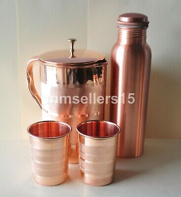 Pure Copper Handmade Jug Water Pitcher 1.5L, Water Bottle 950 ml, 2 Cups Tumbler