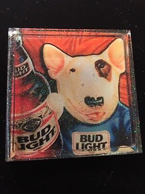 "Bud Light Bull terrier Dog Coaster Decor Resin Paperweight 4"" Spuds Mackenzie"