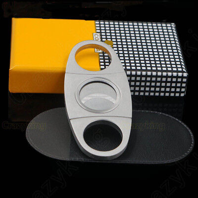 COHIBA Stainless Steel Double Blades Scissors Cigar Cutter NEW in Gift box