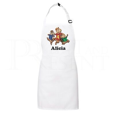 Personalised Childrens Alvin Chipmunks apron (White)- With adjustable neck strap