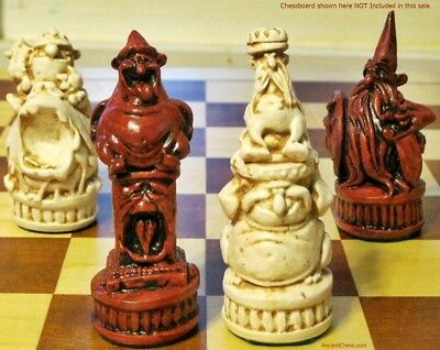WIZARDS vs OGRES CHESS MEN - A LARGE, HEAVY & HILARIOUS SET!  (rosewood) 622