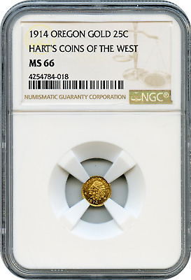 1914 Oregon Gold 25c Harts Coins of the West NGC MS66