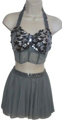 Kelle Dance Costume Gray Silver Sequins 2 pc Top & Skirt Lyrical Small Adult KH