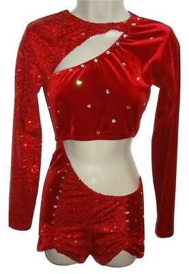 Dance Costume Red Sequins Rhinestones 1 pc Shorts Longs Sleeves Small S Adult KH