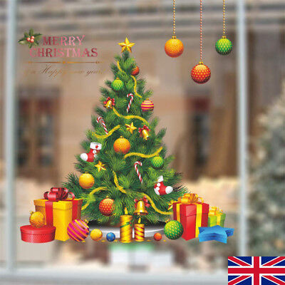 Christmas Tree Shop Window Glass Art Wall Stickers Decals Removable Xmas Decor E