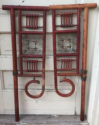 "Antique Vtg Pair Two 32"" Ornate Asian Doors Gate Architectural Furniture Garden"