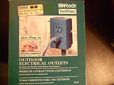 Woods  Outdoor Yard Stake power outlet 6' Grounded cord 15 amp