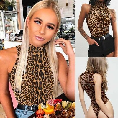 Fashion Sleeveless Bodycon Bodysuit High Neck Leopard Tops Ladies Sexy Jumpsuit