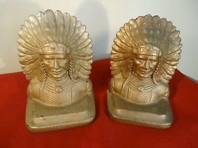 Antique Cast Iron w/ Gold Wash Indian Chief w/ Headdress Bookends - original