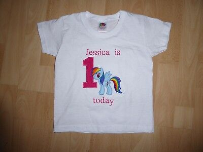 Personalised Embroidered My Pony First 1st Birthday Boy Girl T Shirt Kids
