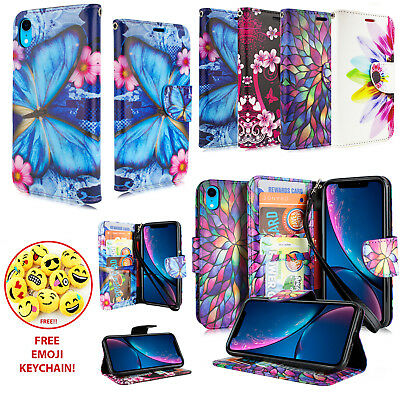 """ONLY for iPhone XR 2018 6.1"""" Card Slot Holder Folio PU Leather Fold Wallet Case"""
