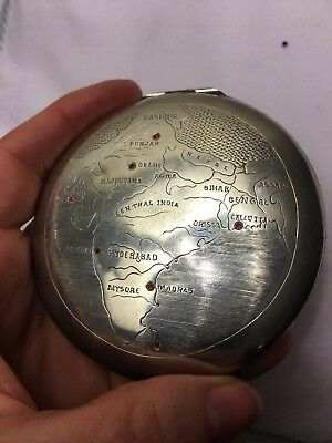 COLLECTORS SILVER 'D & Co'Antique Compact  India Bombay/Madras 7X Rubies Garnets