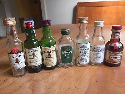 Vintage - glass airline bottles - empty -  Whiskey -  Scotch Whisky- Drambuie