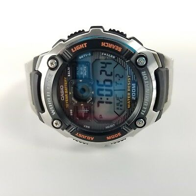 Casio Digital Sports Watch Multi function Illuminator Stainless Steel Band NEW
