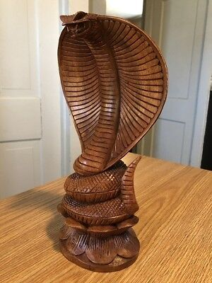 Bali Wooden Carving Cobra Snake Hand Carved Wood Souvenirs Balinese Asia Asian