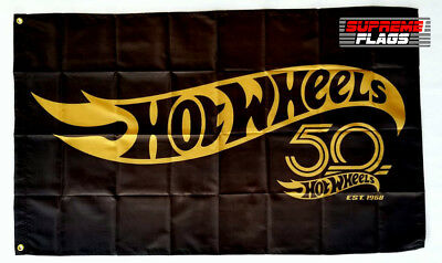 Hot Wheels Flag Banner 3x5 ft 50 Toy Cars Racing Man Cave 50th Anniversary