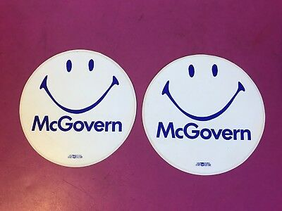 """Lot of 2 Vintage George Mcgovern Smiley Face Stickers 5"""" dia"""