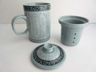 Asian Chinese Blue-Green & Dragon Accents Ceramic Lidded Teacup & Infuser Filter