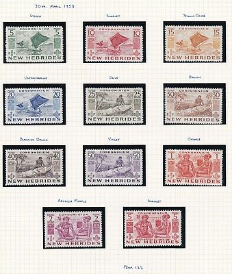 Commonwealth. New Hebrides. 1953-63 issues. THREE PAGES. Mint.