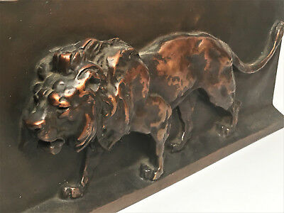 Antique Bronze Plaque by Barye - 19th Century - Lion - Free Ship!