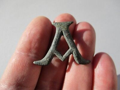 ancient Roman bronze letter 'A', belongs to military - legionary belt - mount
