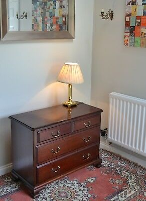 Handsome Antique Georgian Style Figured Mahogany Chest Of 2 Over 2 Drawers