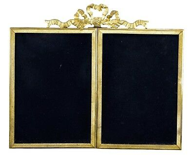 Antique French Louis XVI Double Photo Picture Frames, Satnding & Hanging Frames