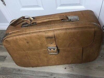VINTAGE SAMSONITE Cordoba Brown Leather Suitcase Luggage CARRY ON BAG - 22""