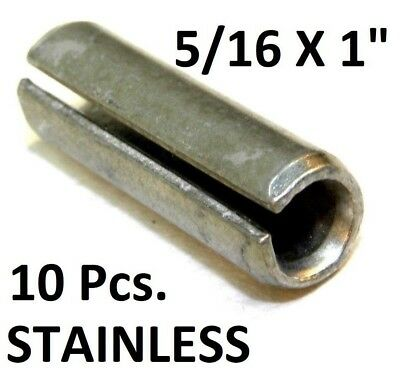 "NEW!! (10pcs) 420 S.S. Slotted Roll Spring Pin, 5/16"" Dia x 1"" Length NH"