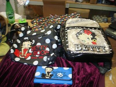 Lot Of 4 Betty Boop Tote Bag & Purse & Back Pack & Wallet all In Good Condition