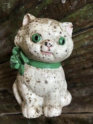 Antique Hubley Cast Iron Cat/Kitten Bank With Green Bow